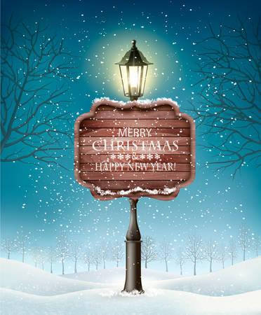 Natale sera paesaggio invernale con lampioni. Vettore Archivio Fotografico - 92409597