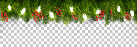 Christmas holiday decoration with branches of tree and garland. Vectores