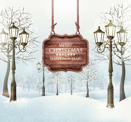Christmas winter landscape with lampposts and wooden board. Vector