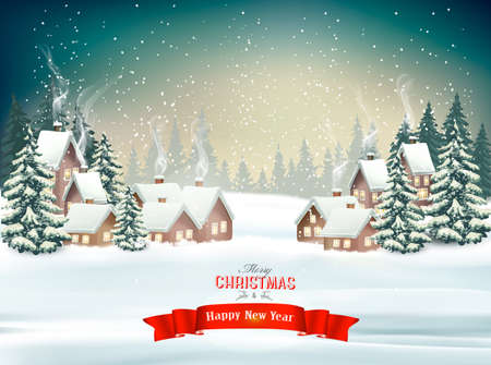 Holiday Christmas background with a winter village and trees. Vector. Vettoriali