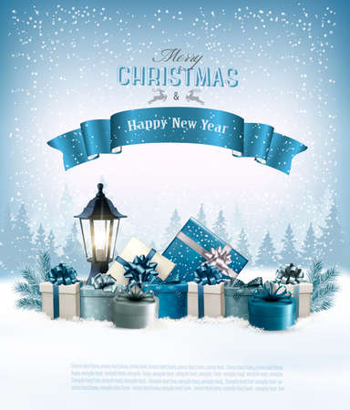 Merry Christmas card with branches of tree and gift boxes.