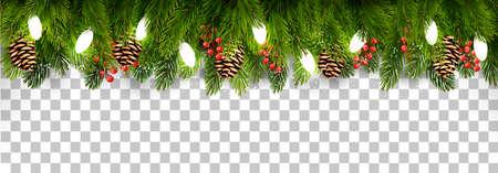 décoration de vacances de noël avec des branches d & # 39 ; arbre et de pin et guirlande sur fond transparent . vecteur Vecteurs