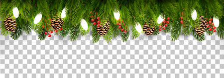 Christmas holiday decoration with branches of tree and pine and garland on transparent background. Vector. Vettoriali