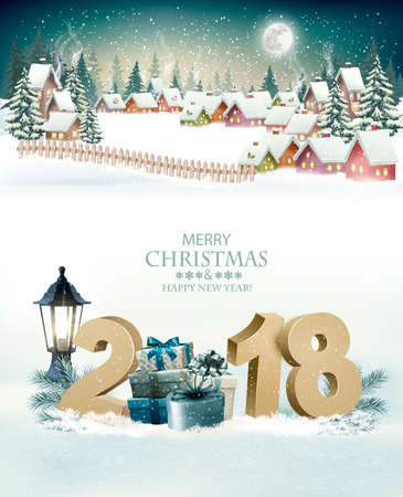 Holiday Christmas background with a winter village and  2018. Vector.