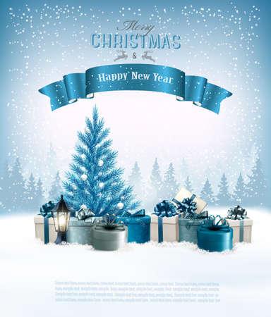 Feiertag Weihnachten mit einem Geschenk-Boxen und blauem Baum