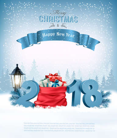 Holiday Christmas with a red sack full presents and 2018. Vettoriali