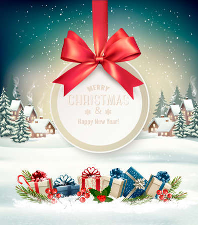 Christmas holiday with a gift card and a gift boxes. Stock Vector - 91865666