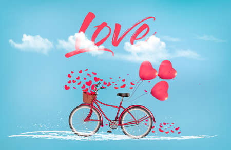 Valentines Day background with a heart shaped ballons and a bicycle.