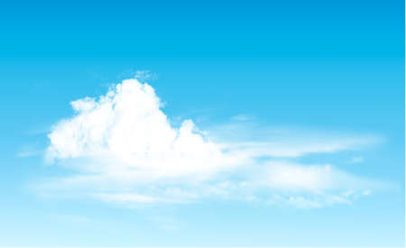 Blue sky with clouds panorama. Vector background.