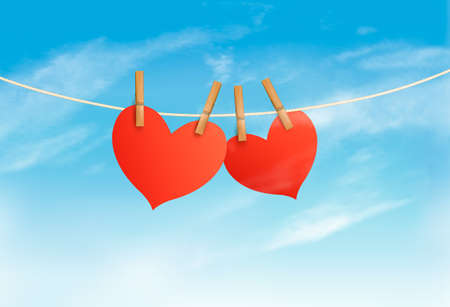 Two hearts hanging on a rope in front of a sky, Valentines day vector.