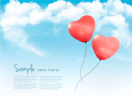 Valentine heart-shaped balloons in a blue sky with clouds vector illustration.