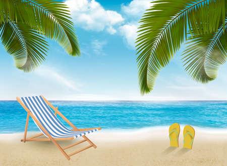 Palm leaves on beach. Vector illustration.