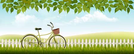Sfondo primavera natura con erba e foglie. Vettore.