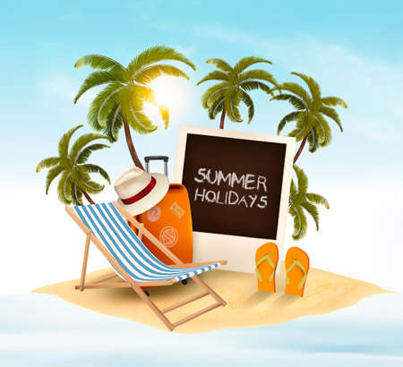 Summer holidays background with trees, beach chair, slippers, hat and luggage. Vector illustration.