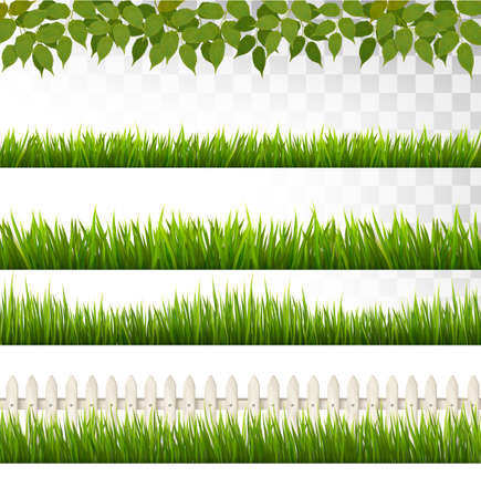 Big collection of green grass fence. Illustration