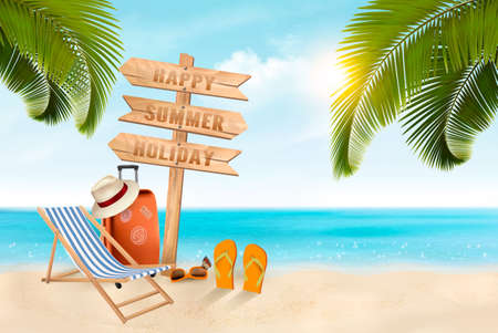 Summer vacation background, creative advertising for holiday Foto de archivo - 96632745