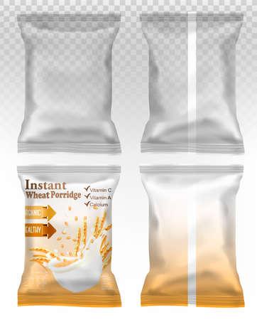 Polypropylene plastic packaging - instant porridge advert concept. Desing template. Vector illustration