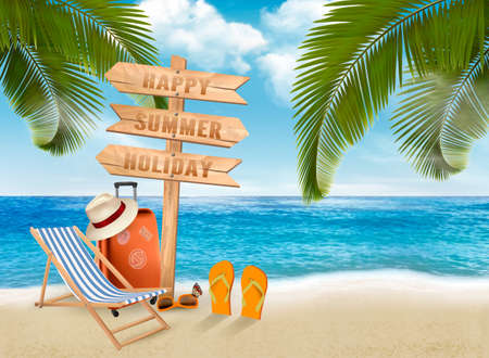 Seaside vacation vector. Travel items on the beach. Stockfoto - 96836036