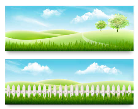 Two nature meadow banners with grass and blue sky. Vector illustration. Çizim
