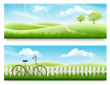 Two nature meadow banners with landscape and blue sky. Vector illustration.