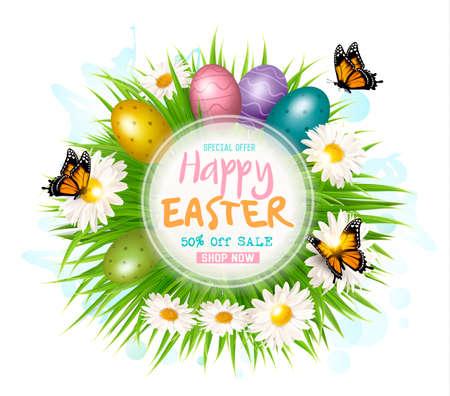 Easter sale card with colofrul eggs illustration Illustration