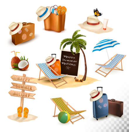 Set of vacation related icons. Vector. Illustration