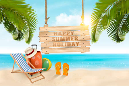 Summer vacation concept background. Travel items on the beach Vector.