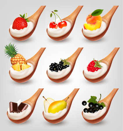 Big collection of fruit and yogurt in spoon. Strawberry, blueberry, coconut, peach, pear, orange and banana.