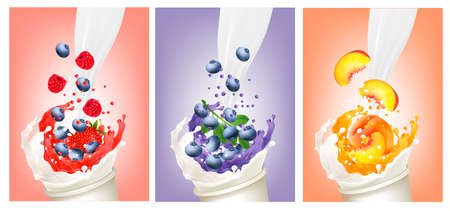 Set of berries and fruit in a milk and juice splash. Design template. Vector