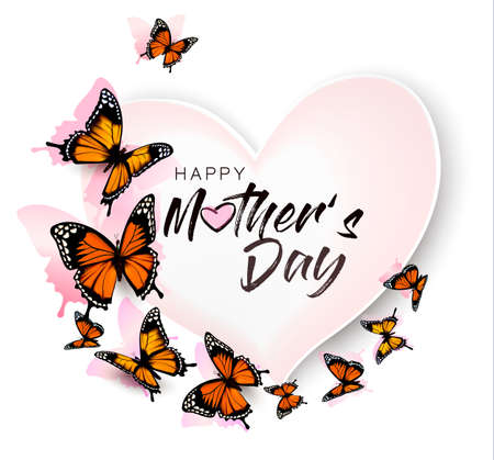 Happy Mothers Day background with beautiful butterflies and heart.