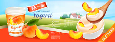 Fruit yogurt with peach advert concept. Yogurt flowing into a cup with fresh peach. Design template. Vector.