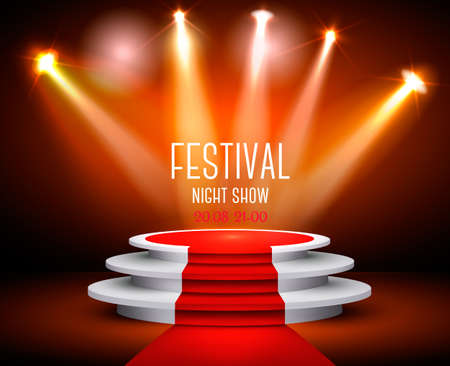 Showroom Background With A Red Carpet and Spotlight. Festival show poster. Vector.  矢量图像
