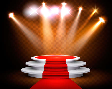 Showroom Background With A Red Carpet and Spotlight. Festival show poster. Vector.  Vectores