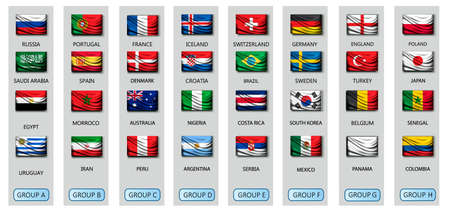 Soccer cup 2018 team group set with national flags. Vector