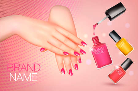 Manicured female hands and several nail laquer bottles. Vector illustration
