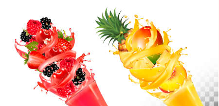 Obst in Saftspritzern. Erdbeere, Himbeere, Brombeere, Ananas, Mango, Pfirsich Vektor. Vektorgrafik