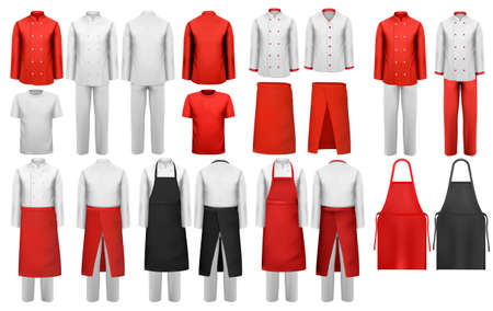 Grande collezione di abbigliamento culinario, abiti bianchi e rossi e grembiuli. Vettore. Vettoriali