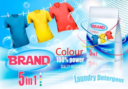 Wasmiddel advertentie. Kleurrijke kleren die aan touw en plastic zak hangen. Ontwerpsjabloon. Vector