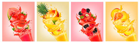 Set of labels with fruit in juice splashes. Strawberry, guava, watermelon, pineapple, mango, peach, raspberry, blackberry. Vector.
