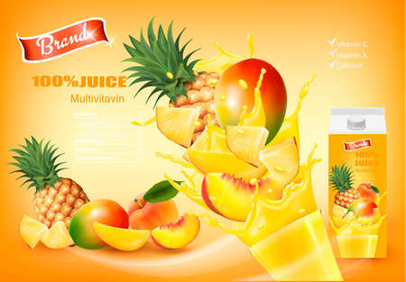 Mulitivitamin juice with fresh fruits and splashing liquid. Design template. Vector.