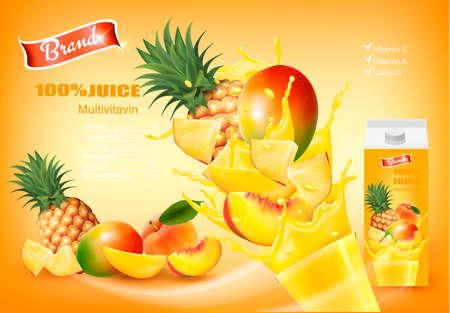 Jus de mulitivitaminé avec fruits frais et éclaboussures de liquide. Modèle de conception. Vecteur. Vecteurs