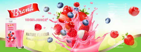 Fresh Juice with Berries and Splashing Liquid. Advert Concept. Design template. Vector. Illustration
