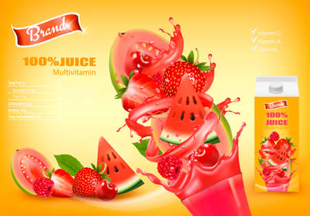 Fresh Juice with Exotic Fruits and Splashing Liquid. Advert Concept. Vector.
