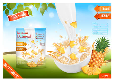 Instant oatmeal with berry advert concept. Milk flowing into a bowl with grain and pineapple. Vector.