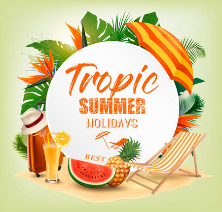 Summer Holiday Background With Tropical Plants And Travel Supplies. Vector