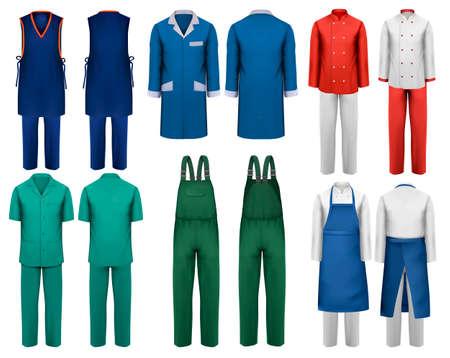 Ensemble de salopettes avec des vêtements de travail et médicaux. Modèle de conception. Illustration vectorielle.