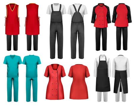 Set di tute con operaio e shefcook e indumenti medici. Modello di progettazione. Illustrazione vettoriale. Vettoriali