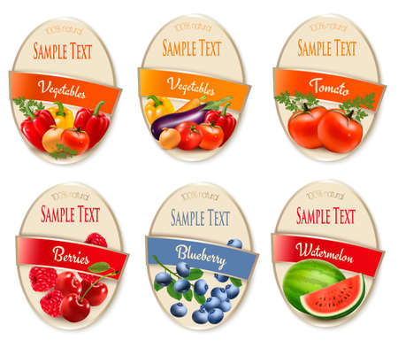 Set of labels of berries and vegetables. Cherry, blueberry, raspberry, strawberry, watermelon, tomato, onion, pepper, carrot. Vector.