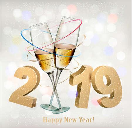 Fond de nouvel an 2019 avec cadeau. Vecteur. Vecteurs