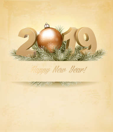 Holiday background with a 2019 and a christmas tree. Vector. Illustration